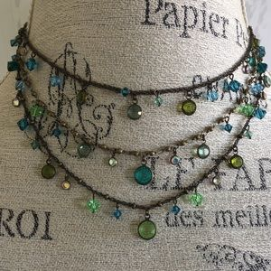 LAYERED GREEN CRYSTAL NECKLACE